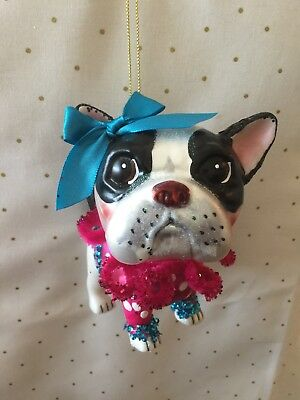 Robert Stanley Glass Ornament Boston Terrier Party Girl Christmas Decoration