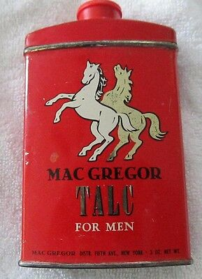 Vintage Mac Gregor Talc For Men 5th Avenue Ny Red  Can w/ Horses 3oz! Unusual