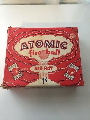 1950s Atomic Fire Ball Jawbreaker Candy Store Display Box Nuclear Bomb Cold War
