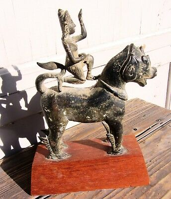 Gorgeous Unusual Early Antique Tibetan Chinese Bronze Foo Temple Lion w/ Rider