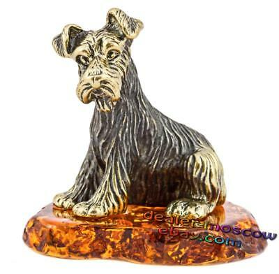Bronze Solid Brass Amber Figurine Dog Shaggy Schnauzer IronWork Miniature 1400