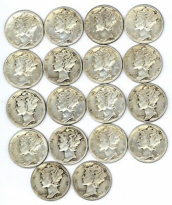 (18) 1944-P, S & D  Mercury Dimes  Very Good Condition 18 dimes.