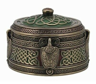Veronese Design Bronze Medieval Celtic Knot Pattern Trinket Box Dish w/ Lid NEW!