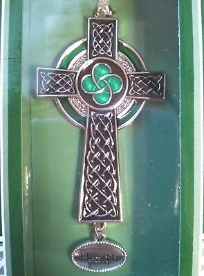 GANZ Irish Blessings Silver Green Celtic Knot Cross Ornament for Health NEW NIB