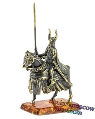 Bronze Solid Brass Amber Figurine Rider Knight Crusader with a Spear 1234