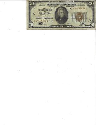 1929 $20 Federal Reserve Bank of Philadelphia PA Note