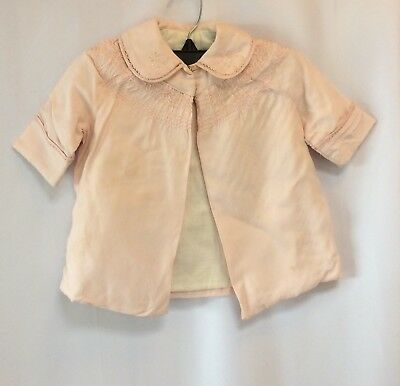 antique vintage pink dress coat little girl baby embroidered silk lined cotton