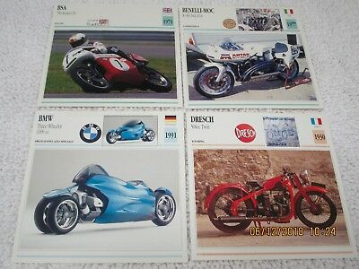 4-Historic/Rare European Motorcycle Info Cards V/good Conition. Free Shipping