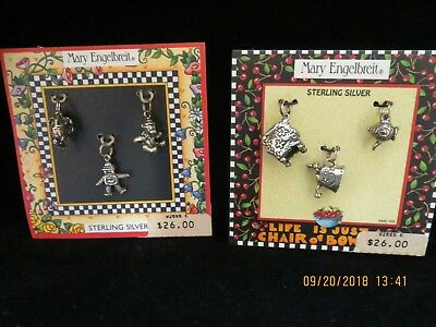 VTG.~2 CARDS, 6 STERLING SILVER, MARY ENGELBREIT, CHARMS.NEW~Life is just a