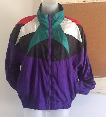 Active Exposure Vtg USA Purple Red White Green Windbreaker Jacket