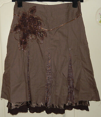Vila clothes sequined floral brown fully lined zip skirt Size XS new with tag