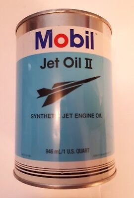 """CANADIAN (CALGARY) """" MOBIL JET  OIL Ii"""" 1 US QUART CAN -  IMPERIAL OIL CO.-EMPTY"""