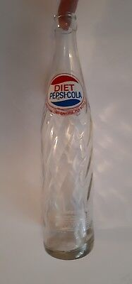 """Rare American """"diet Pepsi-Cola"""" 16 Oz  Embossed Clear - Red/white/blue Acl"""
