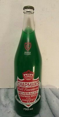 """Rare Canadian (Amherst, N.s.) """"chapman's"""" 750 Ml  Clear Bottle- Red & White-Full"""