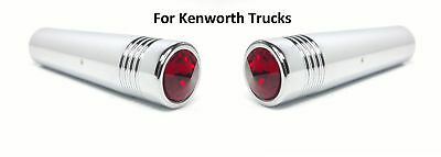 "Pair (2) Kenworth Red Crystal Toggle Switch Extension 2-1/4"" Long, Chrome Metal"