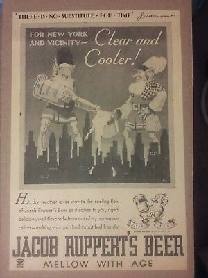 1934 Jacobs Ruppert's Beer Ad New York & Vicinity