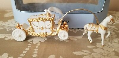 Horse & Carriage Porcelain Gold Embellished Boxed Christmas Ornament by WEDGWOOD