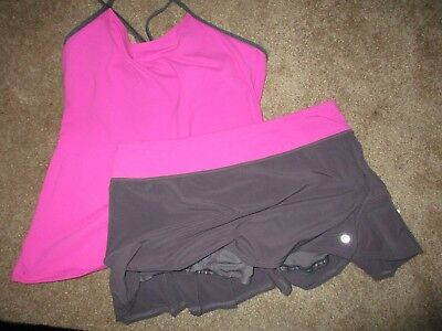 Lululemon Gray And Fushia Pink 2 Piece Skirt And Top Tennis Set 10 /12