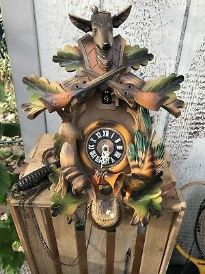 Vintage Albert Schwab Karlsruhs Cuckoo Clock Hunting West Germany