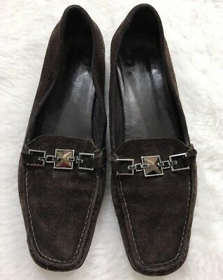 54cd8650df3 Stuart Weitzman Women s 7.5M Chocolate Brown Leather Loafers Jewels Shoes