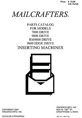 MAILCRAFTER  parts Manual  models 7000, 9800, RM9800 & 9800 edge drive (034)