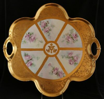 Haviland Limoges France Large Serving tea coffee Tray hand painted roses gold