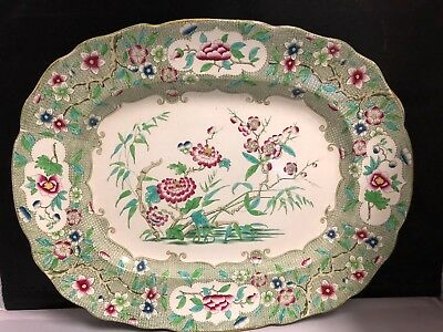 """English Hand Painted Iron Stone Platter """"indian Curl"""" Pattern 19Th Century"""