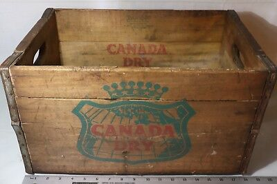 VINTAGE 1950s CANADA DRY Advertising WOODEN CRATE 12 Bottle BOX STORAGE