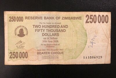 ZIMBABWE 250,000 (250000) Dollars Bearer Cheque, 2007, P-50, *Poor Condition*