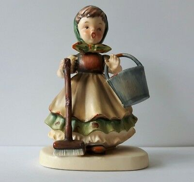 Vintage GC Japan Fine China Handpainted Girl With Broom Bucket