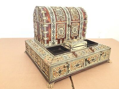 Antique 19th/ Early 20th C Anglo Indian Carved Horn On Sandalwood Desk Caddy Set
