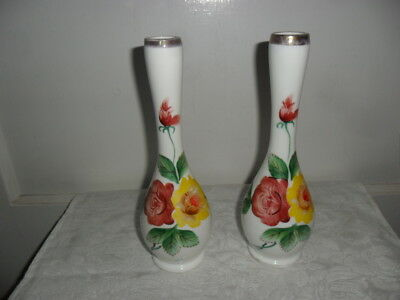 "Pair Of Vintage Vases 9"" Tall - White With Yellow and Red Roses - Not Marked"