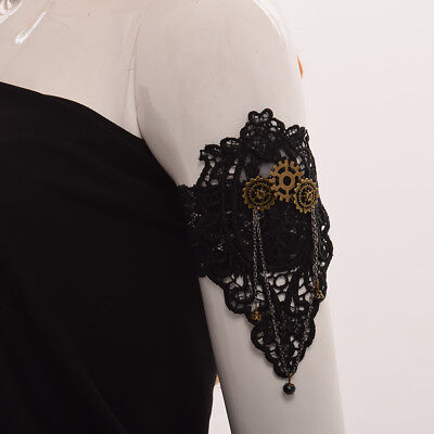 Vintage Steampunk Gear Armlet Retro Black Gothic Victorian Party Costume Armband