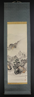 JAPANESE HANGING SCROLL ART Painting Scenery Asian antique  #E3978