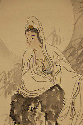 """JAPANESE HANGING SCROLL ART Painting """"Kannon"""" Buddhism Asian antique  #E3991"""
