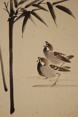 """JAPANESE HANGING SCROLL ART Painting """"Sparrow"""" Asian antique  #E3968"""