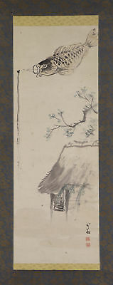 JAPANESE HANGING SCROLL ART Painting Scenery Asian antique  #E3987