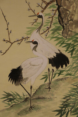 """JAPANESE HANGING SCROLL ART Painting """"Cranes"""" Asian antique  #E3971"""