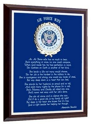 Us Air Force Wife Gift~An Air Force Wife's Plaque~Valentines Day / Mother's Day