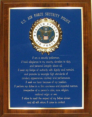 Usaf / United States Air Force Security Police / Forces Creed - Award Or Gift