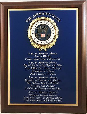 Us Air Force Airman's Creed Wall Plaque - Great Gift Or Award !