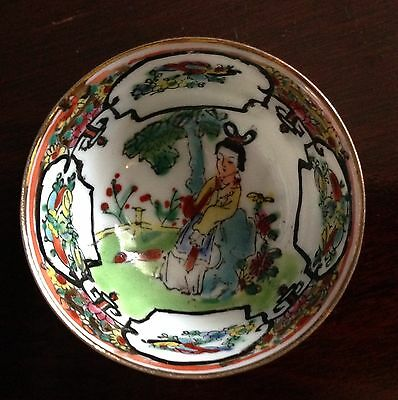 Vintage Pair Of Small Chinese Hand Painted Porcelain Cups