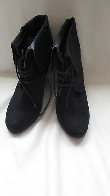 """Ladies Girls Black Novo """"patty"""" Suede Look Platform Lace Up Ankle Boot"""
