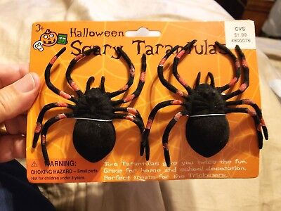 Halloween SCARY TARANTULAS  Decorations 3.5 inches Package of 2 NEW