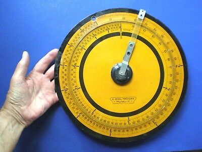 "Troger Circular Slide Rule. 11½"" Diameter. 2 Scales. Germany. Good Condition."