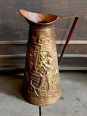 Vintage Embossed Brass Fireplace Ash/Coal Scuttle Bucket/Pitcher Made In England