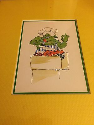 CROAK FOLKS  Ginger Crowell 1975 Matted Print  #11-12 Chef  11 x 14  New