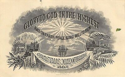 Glory to God 1884 Victorian Card Christmas Dime Offering Foreign Missions