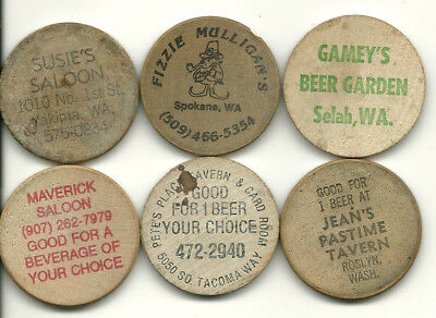 Six Different Wooden Nickels -- All from Washington