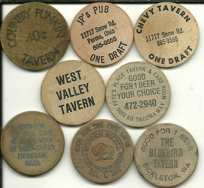 "Six Different Wooden Nickels -- All are ""Good For..."""